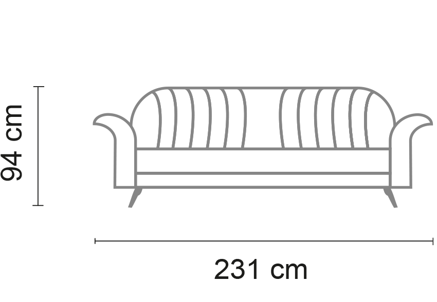 saffo divano lunghezza 231